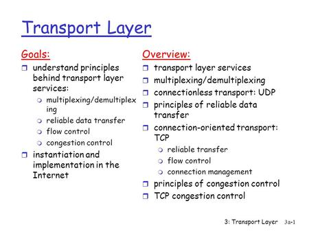3: Transport Layer3a-1 Transport Layer Goals: r understand principles behind transport layer services: m multiplexing/demultiplex ing m reliable data.
