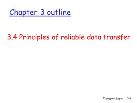 Transport Layer 3-1 Chapter 3 outline 3.4 Principles of reliable data transfer.