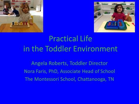 Practical Life in the Toddler Environment Angela Roberts, Toddler Director Nora Faris, PhD, Associate Head of School The Montessori School, Chattanooga,