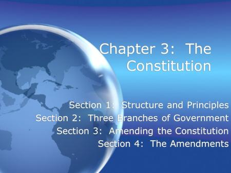 Chapter 3: The Constitution Section 1: Structure and Principles Section 2: Three Branches of Government Section 3: Amending the Constitution Section 4:
