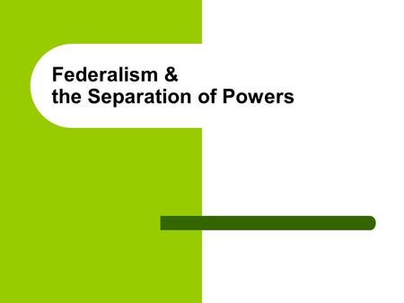 Federalism & the Separation of Powers. 2003 Copyright © by W.W. Norton and Company 2003.