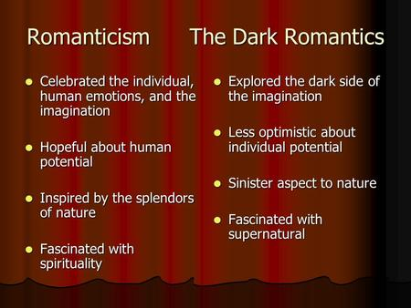 Romanticism The Dark Romantics Celebrated the individual, human emotions, and the imagination Celebrated the individual, human emotions, and the imagination.