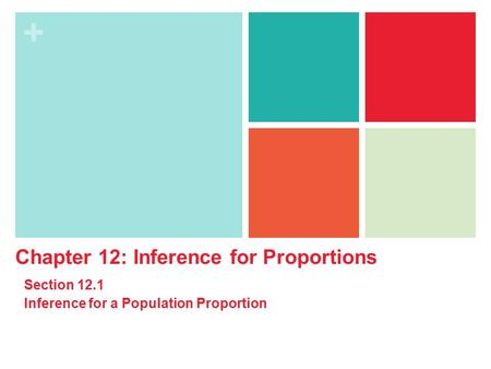 + Chapter 12: Inference for Proportions Section 12.1 Inference for a Population Proportion.