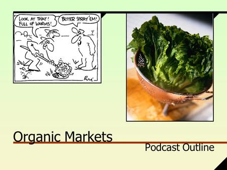 Organic Markets Podcast Outline. Organic? +Perception vs. Reality +What really is 'Organic'? +Industrial Organic Cascadian Farm +Local Organic Farmer.