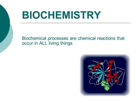 BIOCHEMISTRY Biochemical processes are chemical reactions that occur in ALL living things.