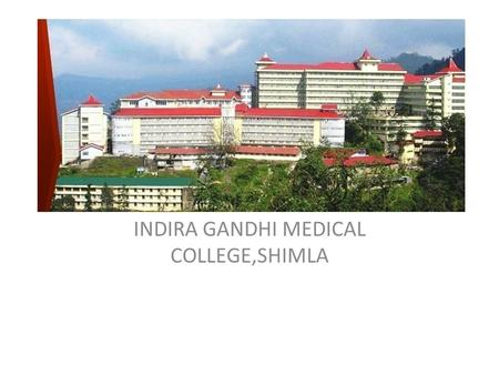 INDIRA GANDHI MEDICAL COLLEGE,SHIMLA. INTRODUCTION Professor Department Of Anaesthesia M.D.,D.A.(Gold Medal),Dip.Hosp.Admin,PGDDM(Disaster Management),Chairman.