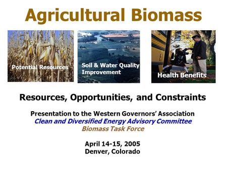 Agricultural Biomass Resources, Opportunities, and Constraints Presentation to the Western Governors' Association Clean and Diversified Energy Advisory.