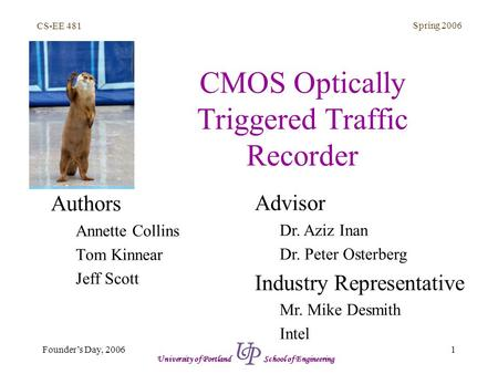 CS-EE 481 Spring 2006 1 CMOS Optically Triggered Traffic Recorder Authors Annette Collins Tom Kinnear Jeff Scott Advisor Dr. Aziz Inan Dr. Peter Osterberg.