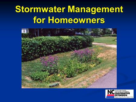 Stormwater Management for Homeowners. Where does water go?