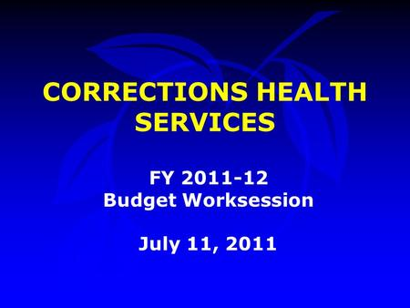 CORRECTIONS HEALTH SERVICES FY 2011-12 Budget Worksession July 11, 2011.