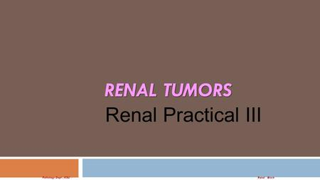 RENAL TUMORS Renal BlockPathology Dept, KSU Renal Practical III.