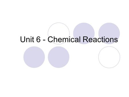 Unit 6 - Chemical Reactions. Law of Conservation of Mass Atoms never disappear Atoms last forever How things are bonded may change, but the total number.