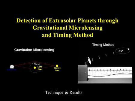 Detection of Extrasolar Planets through Gravitational Microlensing and Timing Method Technique & Results Timing Method.
