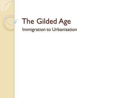 Immigration to Urbanization