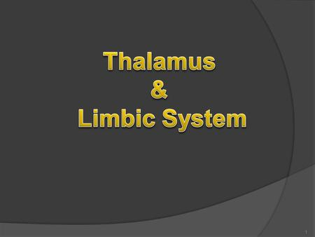1. By the end of the lecture, the student should be able to :  Describe main functions of the thalamus  Name and identify different nuclei of thalamus.