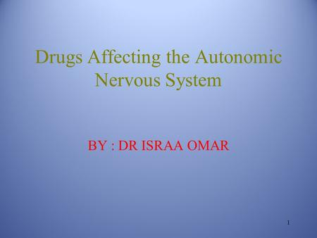 Drugs Affecting the Autonomic Nervous System BY : DR ISRAA OMAR 1.