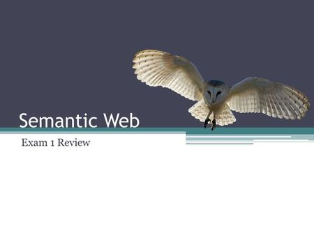Semantic Web Exam 1 Review. Agenda URI XML RDF RDF/XML RDFS SPARQL Reification Design Patterns.