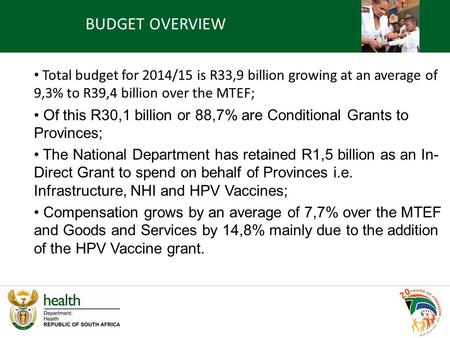 Total budget for 2014/15 is R33,9 billion growing at an average of 9,3% to R39,4 billion over the MTEF; Of this R30,1 billion or 88,7% are Conditional.