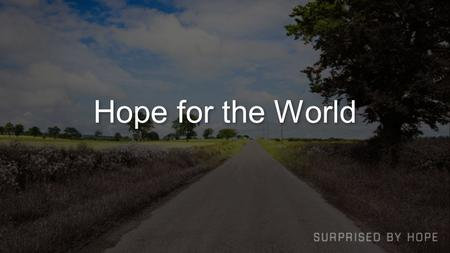 Hope for the World. Two Related Questions What is the ultimate Christian hope? What hope is their for change, rescue, transformation, new possibilities.
