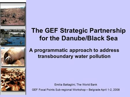 A programmatic approach to address transboundary water pollution The GEF Strategic Partnership for the Danube/Black Sea Emilia Battaglini, The World Bank.