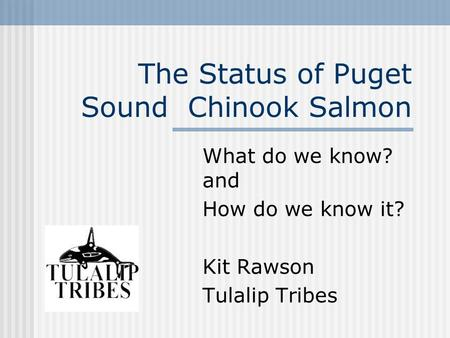 The Status of Puget Sound Chinook Salmon What do we know? and How do we know it? Kit Rawson Tulalip Tribes.