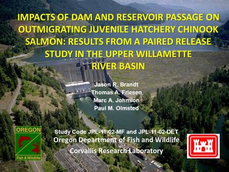 IMPACTS OF DAM AND RESERVOIR PASSAGE ON OUTMIGRATING JUVENILE HATCHERY CHINOOK SALMON: RESULTS FROM A PAIRED RELEASE STUDY IN THE UPPER WILLAMETTE RIVER.