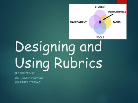 Designing and Using Rubrics PRESENTED BY MS SIDDRA PERVAIZ MS RABIA YOUSAF.