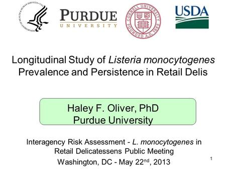 Longitudinal Study of Listeria monocytogenes Prevalence and Persistence in Retail Delis Haley F. Oliver, PhD Purdue University 1 Interagency Risk Assessment.