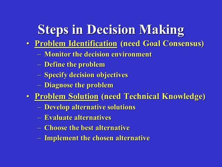 Steps in Decision Making Problem Identification (need Goal Consensus)Problem Identification (need Goal Consensus) –Monitor the decision environment –Define.