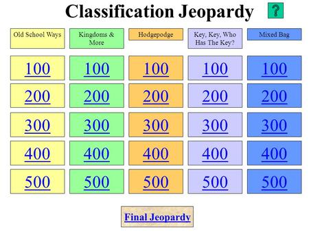 Classification Jeopardy 100 200 300 400 500 100 200 300 400 500 100 200 300 400 500 100 200 300 400 500 100 200 300 400 500 Old School WaysKingdoms &