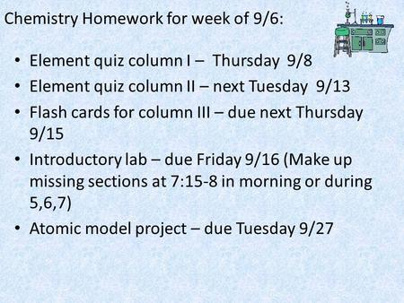 Chemistry Homework for week of 9/6: Element quiz column I – Thursday 9/8 Element quiz column II – next Tuesday 9/13 Flash cards for column III – due next.