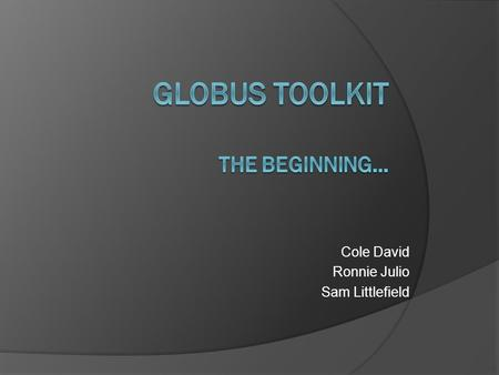 Cole David Ronnie Julio Sam Littlefield. Let's Begin  Globus Toolkit runs on Unix platform only  Install Ubuntu 10.04  download all updates for Ubuntu.