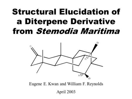 Structural Elucidation of a Diterpene Derivative from Stemodia Maritima Eugene E. Kwan and William F. Reynolds April 2003.