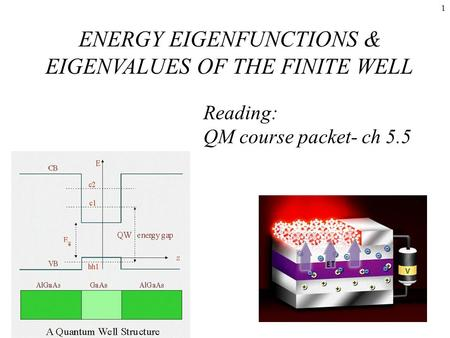 1 Reading: QM course packet- ch 5.5 ENERGY EIGENFUNCTIONS & EIGENVALUES OF THE FINITE WELL.