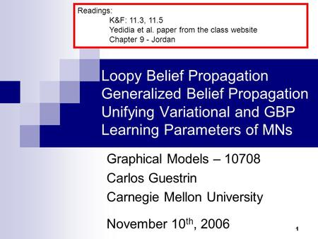 Readings: K&F: 11.3, 11.5 Yedidia et al. paper from the class website