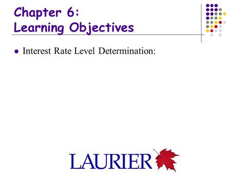 Chapter 6: Learning Objectives Interest Rate Level Determination: