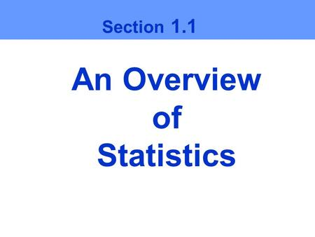 An Overview of Statistics Section 1.1. Ch1 Larson/Farber What is data? Data Consists of information coming from observations, counts, measurements, or.