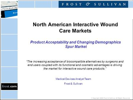 © Copyright 2002 Frost & Sullivan. All Rights Reserved. North American Interactive Wound Care Markets Product Acceptability and Changing Demographics Spur.