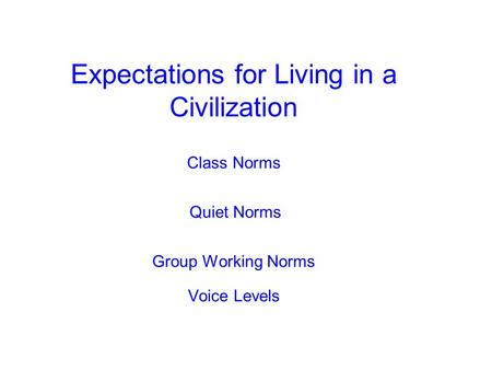 Expectations for Living in a Civilization Class Norms Quiet Norms Group Working Norms Voice Levels.