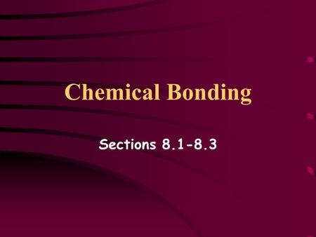 Chemical Bonding Sections 8.1-8.3. Objectives Identify types of chemical bonds Revisit Lewis symbols Analyze ionic bonding Compare and contrast ionic.