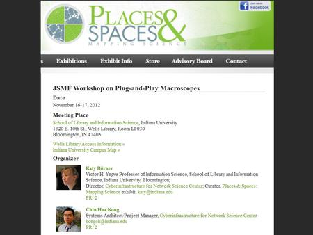 Dec 1 & 2, 2005: Mapping Science Workshop at Thomson Scientific, Philadelphia, PA.