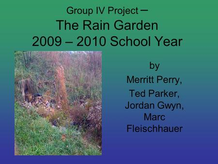 Group IV Project – The Rain Garden 2009 – 2010 School Year by Merritt Perry, Ted Parker, Jordan Gwyn, Marc Fleischhauer.