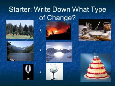 Starter: Write Down What Type of Change?     