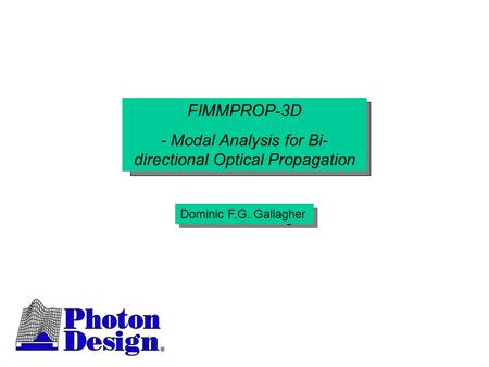 - Modal Analysis for Bi-directional Optical Propagation