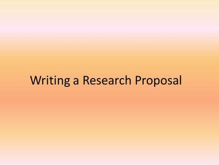 Writing a Research Proposal. The proposal is, in effect, an intellectual scholastic contract between you and your committee. A research proposal is the.