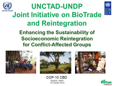 UNCTAD-UNDP Joint Initiative on BioTrade and Reintegration Enhancing the Sustainability of Socioeconomic Reintegration for Conflict-Affected Groups Nagoya,