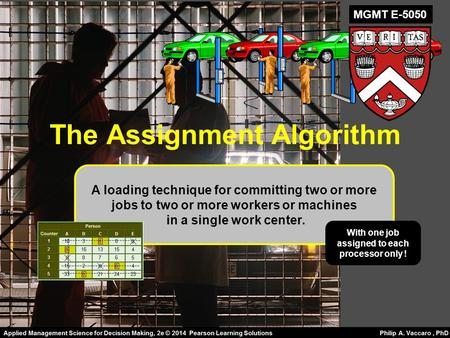 The Assignment Algorithm A loading technique for committing two or more jobs to two or more workers or machines in a single work center. With one job assigned.