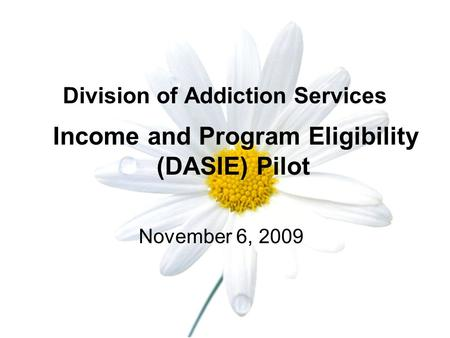 Division of Addiction Services Income and Program Eligibility (DASIE) Pilot November 6, 2009.