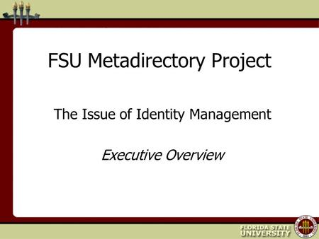 FSU Metadirectory Project The Issue of Identity Management Executive Overview.