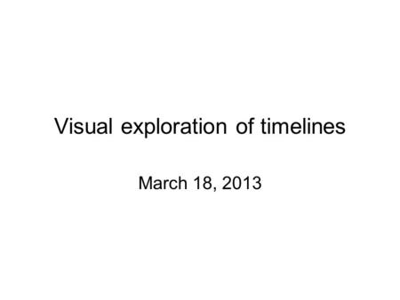 Visual exploration of timelines March 18, 2013. References: RTC work item History view (Eclipse) Plan Ghant view.